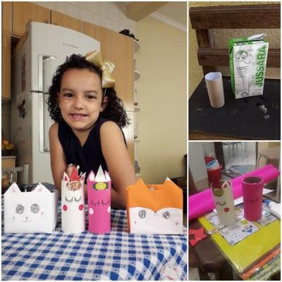 Alunos do 1º ano confeccionam brinquedos com materiais recicláveis