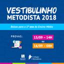 Colégio Metodista recebe inscrições para o Concurso de Bolsas de Estudos/Vestibulinho para o ano de 2018